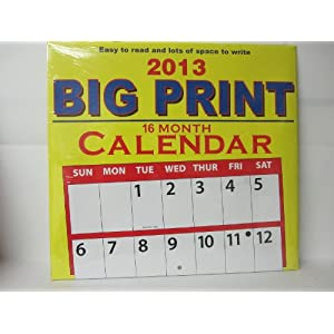 BIG PRINT 2013 16 month Wall Calendar