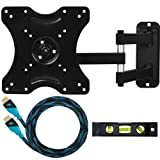 "Cheetah Mounts ALAMLB Ballhead LCD LED TV Wall Mount Bracket for 23-37"" Flat Screen Displays using VESA 100 or 200 Mount Patterns with Full Motion Swing Out Tilt and Swivel Articulating Arm"