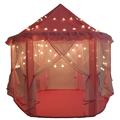 SkyeyArc Princess Castle Play Tent, Kids Indoor Playhouse With 34 Feet Led Star Lights String, Indoor Outdoor Playsets (Indoor Playhouse And Slide compare prices)
