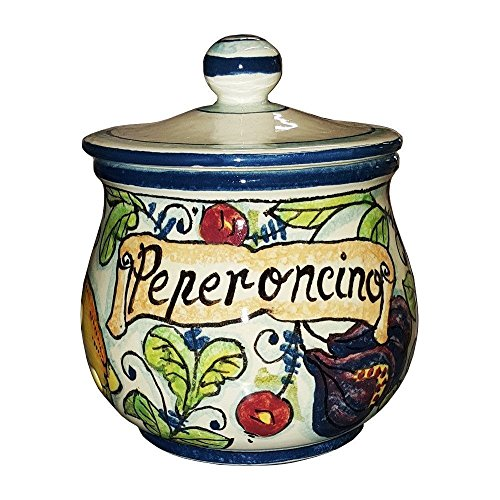 CERAMICHE D'ARTE PARRINI- Italian Ceramic Chilli Pepper Peperoncino Jar Holder Hand Painted Made in ITALY Tuscan Art Pottery (Italian Pepper Cookies compare prices)
