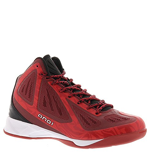 AND1 Men's Xcelerate Mid Sneaker,V-Red/Black/White,US 13 M