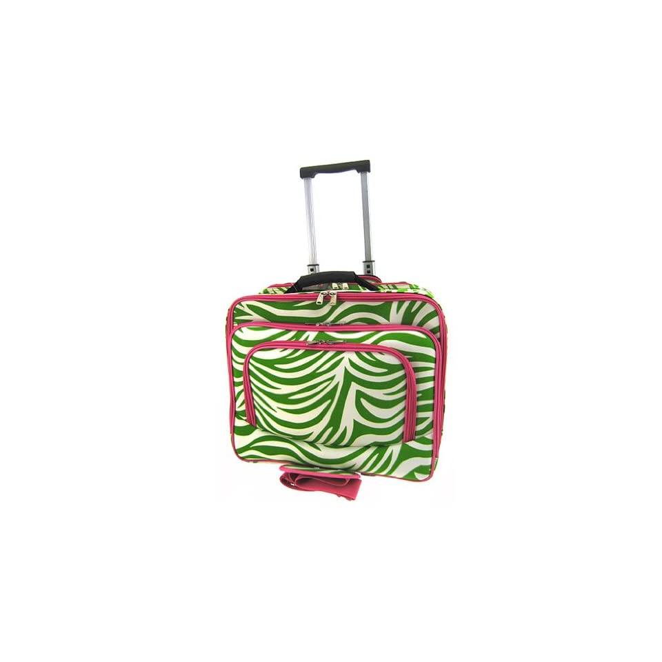 Rolling Zebra Print Laptop Travel Case Briefcase Bag Hot Pink Lime Green