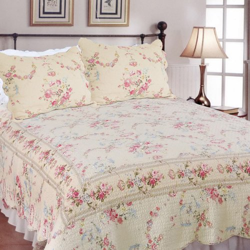 [Sweet Princess] 100% Cotton 3PC Embroidered Intricate Stitching Quilt Set (Full/Queen Size)