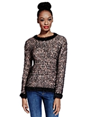 Limited Edition Textured Fluffy Jumper with Wool