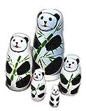 YinHan (ギンカン)マトリョーシカ パンダ panda 5個 動物 matryoshka ロシヤ プレゼント 木製 nesting dolls 知育玩具 ネコ 工芸品 置物