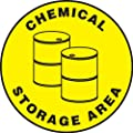 "Accuform Signs MFS1217 Slip-Gard Adhesive Vinyl Round Floor Sign, Legend ""CHEMICAL STORAGE AREA"" with Graphic, 17"" Diameter, Black on Yellow"