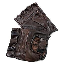 280-BRON Brown Leather Finger Less Gloves