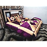 Peponi Purple Wedding Bedding Set 8 Pcs (Quilt, Double Bed Sheet, 2 Pillow Covers, 2 Filled Cushions, 2 Filled...
