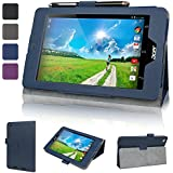 Evecase SlimBook Leather Folio Stand Case Cover for Acer Iconia One 7 B1-730 B1-730HD 7-Inch Android Tablet (2014 Released) - Dark Blue