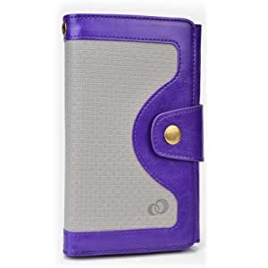 Cooper Cases(TM) Tatami Universal Smartphone Wallet Case in Purple (Woven Pattern, Screen Protector, Card Slots, ID Holder, Billfold)