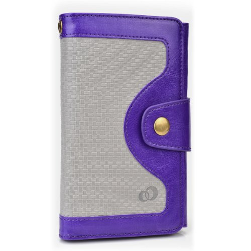 Kroo Universal BiFold Wallet with Snap Button Strap for 5.5-Inch Smart Phones - Non-Retail Packaging - Purple
