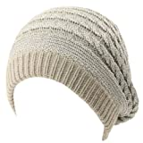 Winter Warm 2ply Fleeced Lined Chunky Thick Beret Slouch Beanie Hat Cap Silver S