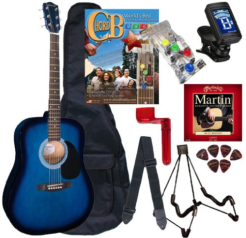 Chord Buddy Acoustic Guitar Beginners Package With Full Size Johnson Jg-610 Bundle - Blueburst