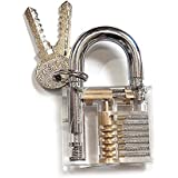 KINGLAKE®Crystal Professional Visible Cutaway of Padlocks Lock for Locksmith Lock Training Trainer with 2 keys Good for Beginners