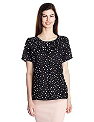 Van Heusen Womens Body Blouse Shirt (VWTS316Y00978_Black and White_L)