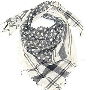 Lovarzi Black & White Star Scarf  Stylish square star desert scarves for men and women  Ladies fashion scarves  Mens Shemagh scarfs