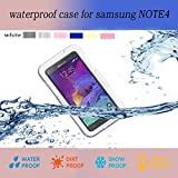 Queens Designed Samsung Galaxy Note 4 IV Ultra Water Resistant Waterproof Shockproof Crashproof Dustproof Dirt Proof Snow Proof Sand Proof Swimming Diving Hard Skin Protective Bumper Case Cover Defender with Impact Resistant Screen Protector Dirt Proof Durable Case Cover for Samsung Galaxy Note4 IV With Clear Screen Protector (1-white)