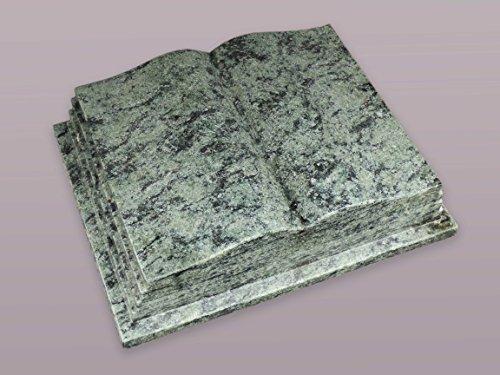 """Buch Grabstein aus Granit """"Oliv Grün"""" 45-35-12 cm inkl. Gravur - Grabstein, Grabkissen, Kissenstein, Grabplatte, Gedenkstein mit Bild, Motiv"""