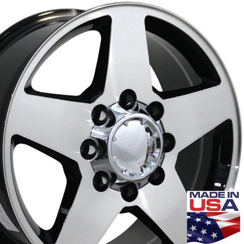 20x8.5 Fits Chevrolet Silverado Aftermarket Wheels - Black Machined Face - Set of 4 Rims (Chevy 2500hd Rims And Tires compare prices)