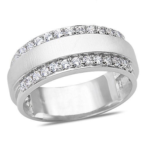 Men'S 1/2Ct Diamond Wedding Band In 10K White Gold With A Cage Back