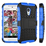 Moto G 2nd Generation Case, Sophia Shop Dual Layer Drop Protection Design 2 in 1 Case, Black Hard Cover Combine Multi-color Option TPU Soft Gel Middle Bumper Premium Slim Fit Impact Resistant Protective Armor Rugged Hard Case, Heavy Duty Tough Rugged Dual Layer Case, Tire Series Armor Defender Protective Tough Dual Layer Protection Case ONLY for Motorola Moto G 2nd Generation, Toughbox Carrier Compatibility At&t, Verizon, T-mobile, Sprint, and All International Carriers (Blue)