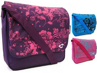 New Womens Girls Floral Flowers School College Work Uni Messenger Shoulder Bag (Pink/Purple/Blue)