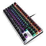 リンバオ PCのUSBゲームバックライト付きメカニカルキーボード (87キー,混合光,ブラック,グリーン軸)