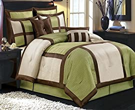 12pc Modern Brown Green Bedding Comforter Pillows and Sheet Set King Size