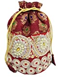 GiftPiper Embroidered Stone Work Potli-Maroon