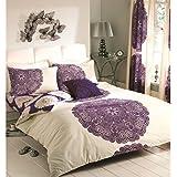 New Baroque Floral Duvet Cover Reversible Bedding Cream Aubergine Purple Bed Set