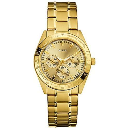 Guess Gold Tone Stainless Steel GMT Tachymeter Ladies Watch U12004L2