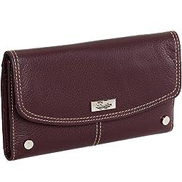 Buxton Womens Genuine Leather Westcott Checkbook Clutch Wallet (Burgundy)