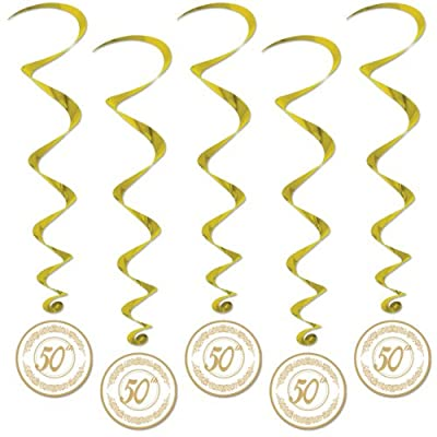 Beistle 50077 5-Pack 50th Anniversary Whirls, 3-Feet 4-Inch