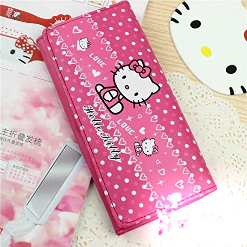 Best Buy! Cute Cartoon Wallet for Students Hello Kitty Long Pu Leather Wallet Rose Red