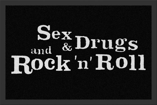 "Empire Merchandising 623386 - Zerbino con scritta in lingua inglese ""Sex, Drugs and Rock n Roll"", 60 x 40 cm, in polipropilene"