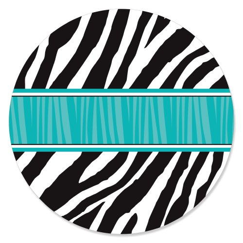 Zebra Teal - Party Circle Sticker Labels - 24 Count (Teal Zebra Party Supplies compare prices)