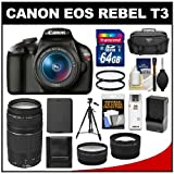 Canon EOS Rebel T3 Digital SLR Camera Body & EF-S 18-55mm IS II Lens with 75-300mm III Lens + 64GB Card + Case + Battery & Charger + Tripod + Tele/Wide Lens Kit
