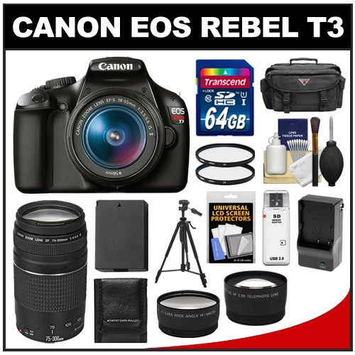 Canon EOS Rebel T3 Digital SLR Camera Body & EF-S 18-55mm IS II Lens with 75-300mm III Lens + 64GB Card + Case + Battery & Charger + Tripod + Tele/Wide Lens Kit image