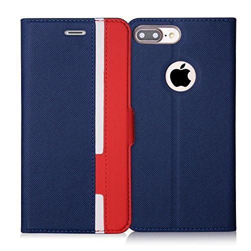 iPhone7 Plus ケース アイフォン7 プラス ケース,Fyy [RFIDブロッキング] 100%手作り 高級PUレザー ケース 手帳型 保護ケース カードポケット付き 横置きスタンド機能付き マグネット式 スマホケース スマートフォンケース