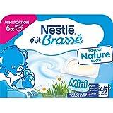 Nestlé Bébé P'tit Brassé Mini Nature Sucré - Laitâge dès 4 mois - 6 x 60g - Lot de 8 (48 coupelles de 60g)