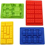 ★Goodlooking & Funny Gifts★ ANFIMU Excellent Quality Multi Building Bricks and Minifigure Ice Cube Trays & Candy Chocolate Molds - Great Molds for Melted Chocolate or Fondant - Birthday Day or Party Favors of Lego Building Bricks and Figures - Set of 4, More Fun for Lego Lovers