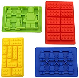 Set of 4 - ANFIMU Excellent Quality Multi Building Bricks and Minifigure Ice Cube Trays & Candy Chocolate Molds - Funny Combination & More Fun of Lego Lovers, Toy Kids Set