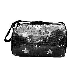 Girls Nylon Dance Duffle Bag w/ Sequin Stars (Black)