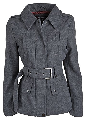Urban Republic Junior Womens Wool Look Belted Classic Dressy Pea Coat Jacket - Charcoal (Large)