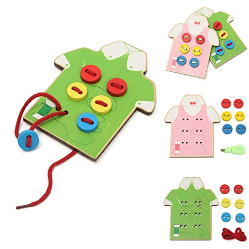 Wooden Wear The Button Girl Boy Kids DIY Daily Life Skill Developmental Toy (Eco Blocks For Wood Stove compare prices)