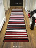 Modern Stripe Rug Red Black Hall Runner 60cm x 220cm from FLAIR