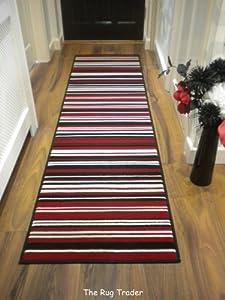 Modern Stripe Rug Red Black Hall Runner 60cm x 220cm from FLAIR