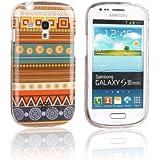 tinxi® Design Schutzhülle für Samsung Galaxy S3 mini i8190 Hülle TPU Silikon Rückschale Schutz Hülle Silicon Case mit ethnischem Stil Indian Streifen Tribal Muster gelb