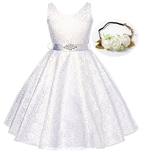 Bow Dream Lovely Lace V-Neck Flower Girl Dress White 5