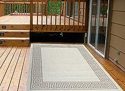 Ottomanson Jardin Collection Natural Greek Bordered Design Indoor/Outdoor Jute Backing Area Rv Patio Mat Rug, 5\'3\